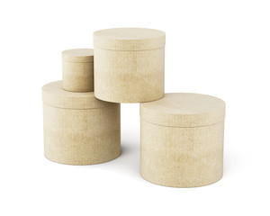 Round cardboard boxes stack isolated on white background. 3d render image.