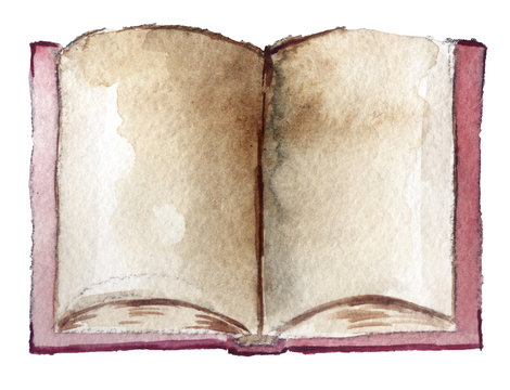 watetcolor old book on a white background
