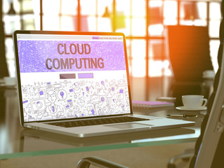 Cloud Computing Concept Closeup on Landing Page of Laptop Screen in Modern Office Workplace. Toned Image with Selective Focus. 3D Render.
