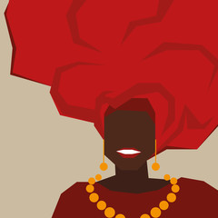 Background with black woman in turban. Vector