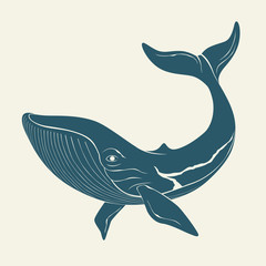 Silhouette of whale. Template for labels. Vector
