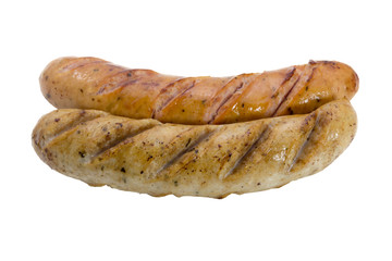 Grilled smoked sausages isolated on white background