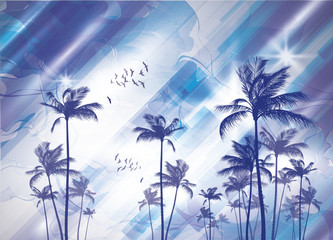 Wall Mural - Exotic tropical palm trees  at sunset or sunrise, with cloudy sky. Highly detailed  and editable