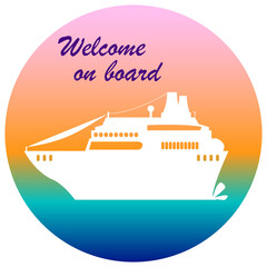 Welcome on board cruise banner, flat style cruise ship