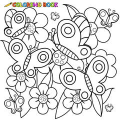 black and white outline image of butterflies flying on flowers in springtime.