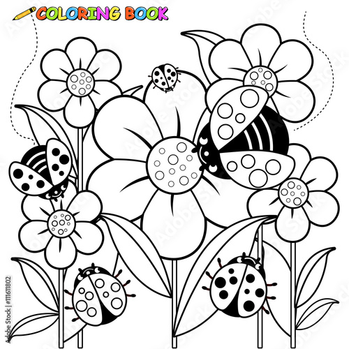 Black And White Outline Image Of Ladybugs Flying On Flowers In