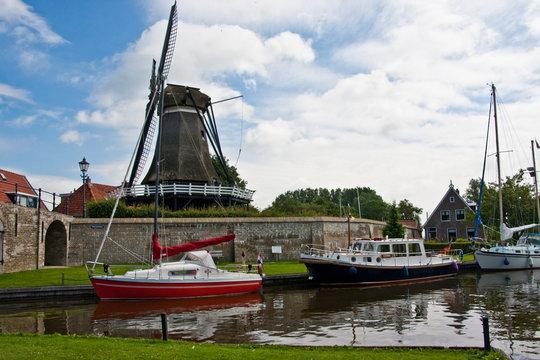 De Kaai - Kornmühle in Sloten Friesland, Niederlande
