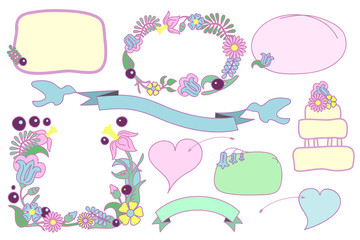 Floral wedding clipart, hand-drawn flower frames