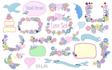 Hand-drawn floral set vector clipart on white background