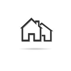 House Real Estate icon logo design long shadow Vector illustrati