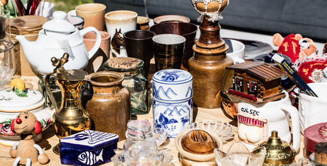 home and household objects at garage sale of flea market