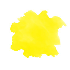 Abstract watercolor aquarelle hand drawn colorful yellow art paint splatter stain on white background