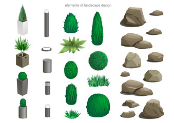 Set of landscape elements lamps, stones, flower beds, plants for the design of the garden or the park isometric