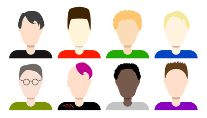 Flat avatars of boys vector icons set