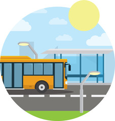 Flat style concept of public transport. City bus with front, stop. Isolated vector illustration.