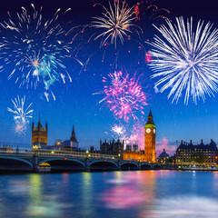 Big Ben and Westminster Bridge in London at night, UK