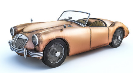 3D rendering of old rusty weathered classic car