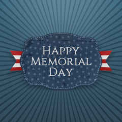 Happy Memorial Day greeting Sign and Ribbon