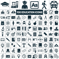 100 education school graduation icons set on white background