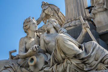 Pallas Athena fountain near Parliament Building. Vienna, Austria