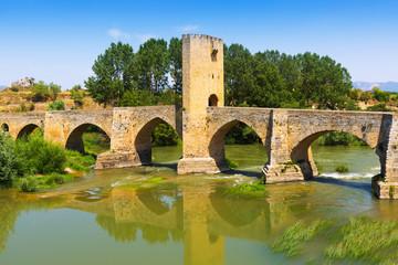 View of old stone bridge over Ebro. Frias