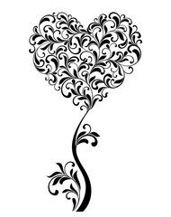 Tree in the form of heart on a white background.