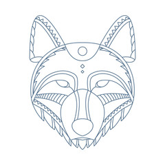 Wolf head. Decorative isolated vector illustration.