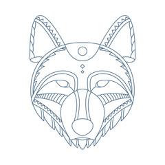 Wolf head. Decorative isolated vector illustration.