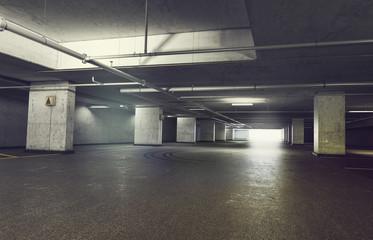 3d rendering of Parking garage underground, industrial interior