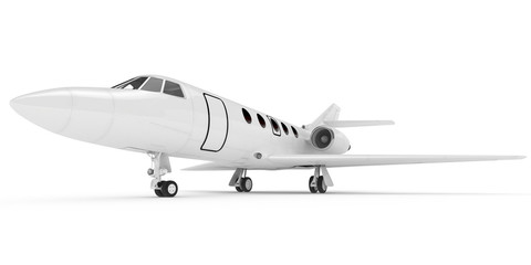 3D rendering of airplane on white background