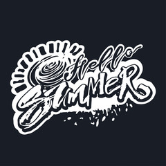 Hello summer hand lettering ink drawn motivation poster.