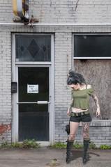 Tattooed Woman with Pistols