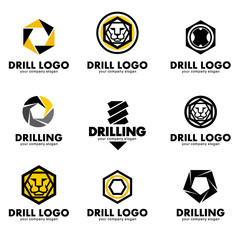 Set of logos for the tool, drill bit, drilling