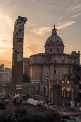 Fototapete - Rome, Italy: The Roman Forum, Santi Luca e Martina Church