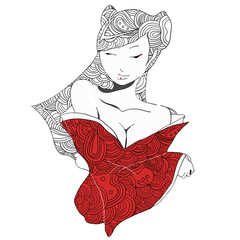 stylized vector illustration of a beautiful geisha girl in red clothes. Japanese girl. Zentangle. Doodle style. Can be used as adult coloring book, coloring page, card.