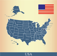 USA map vector outline with United States flag vector outline and US states borders and names, capital location and name, Washington DC, in a creative design