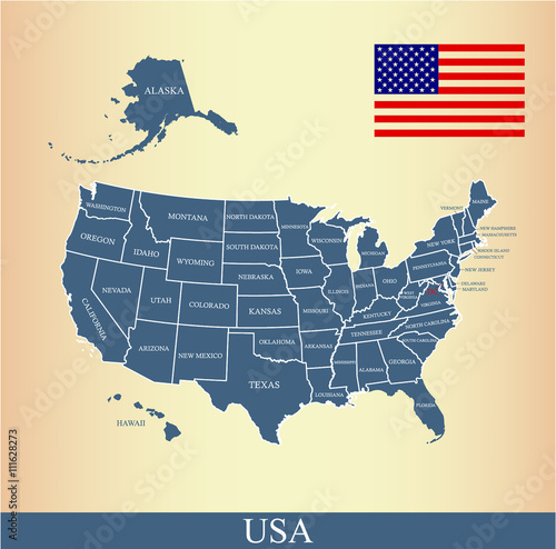 USA map vector outline with United States flag vector outline and US ...