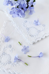 Blue Spring flowers on vintage  linen