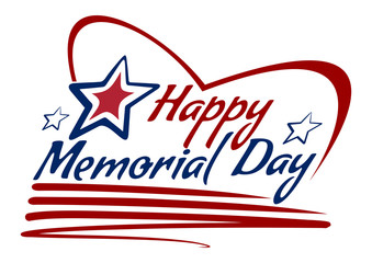Happy Memorial Day drawing lettering design. Vector lettering card