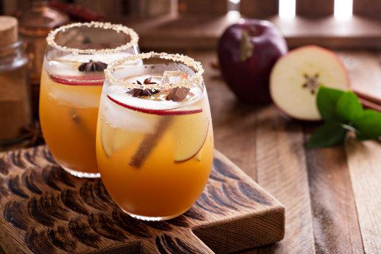 Apple cider cocktail with cinnamon