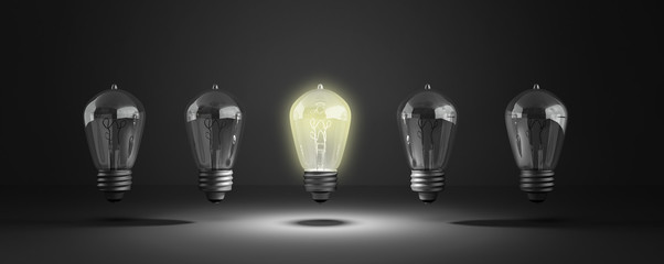 Idea concept with row of light bulbs and glowing bulb 3d illustr