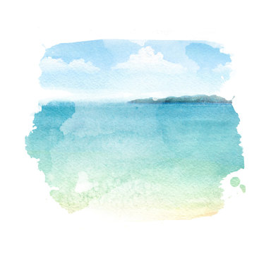 Watercolor illustration of a tropical beach