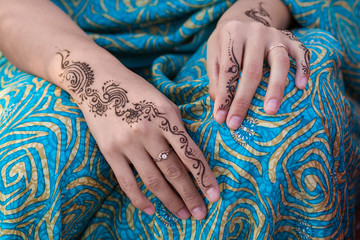 Woman with Fashion Henna Tattoo, No Face, Close up