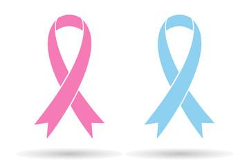 Pink blue ribbons, aids awareness symbol, isolated on white background, stylish vector illustration