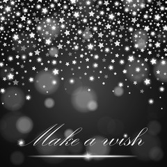 Silver shining falling stars on grey ambient blurred background. Luxury design. Vector illustration