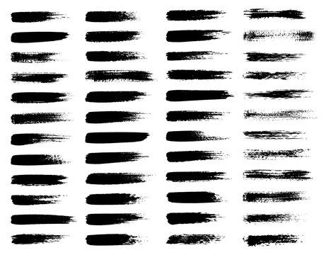 Vector set of grunge brush strokes, black isolated on white background.