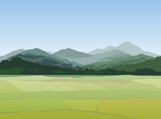 Landscape Nature background Hills, mountains. Countryside fields vector view