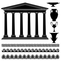 Travel Greece icon set Greek symbol: temple, vase, ornament.
