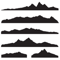 Mountains landscape silhouette set. High mountain skyline border
