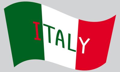 Italian flag waving with word Italy